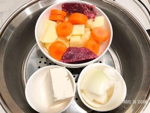 馬鈴薯Yukon potato、洋蔥、firm豆腐、胡蘿蔔、青江菜、牛肉、酪梨油、少許鹽.jpg