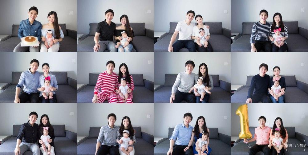 joanne's 12 months family portrait collage 1